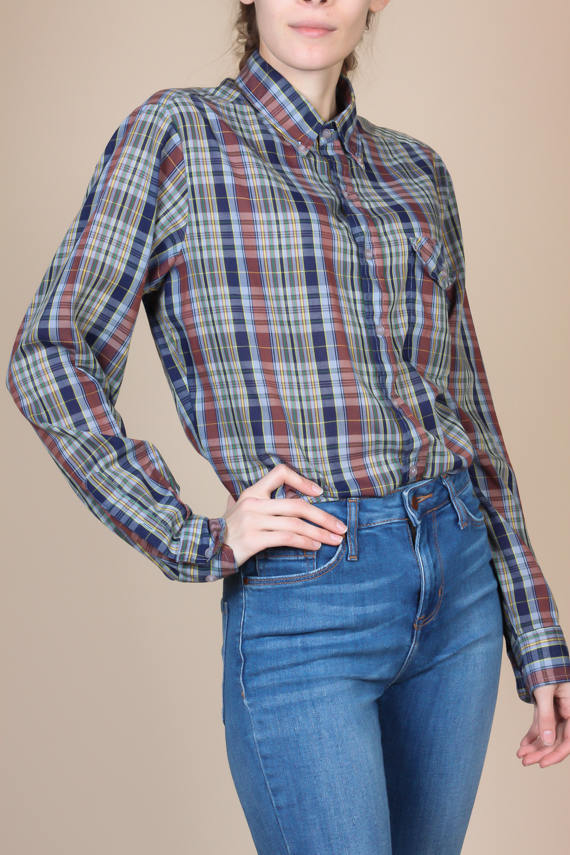 70s Plaid Shirt - Large