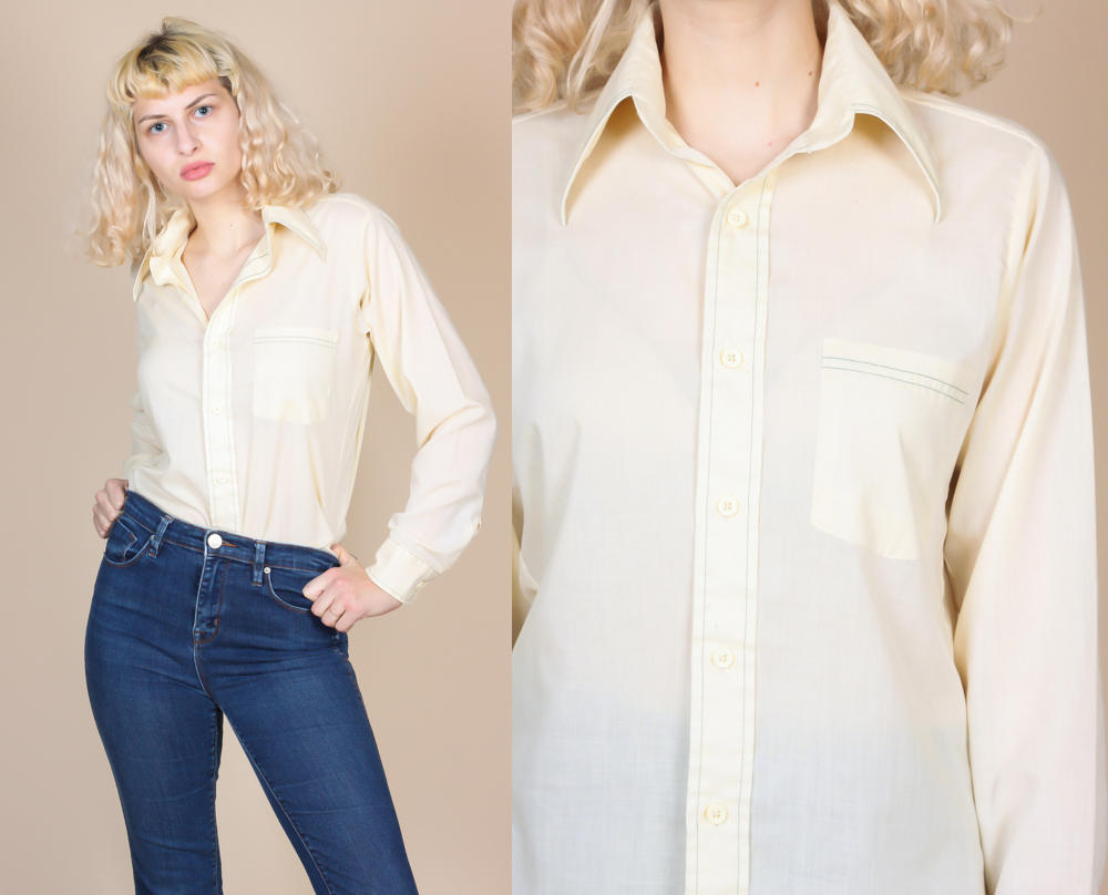 70s Button Up Contrast Stitch Shirt