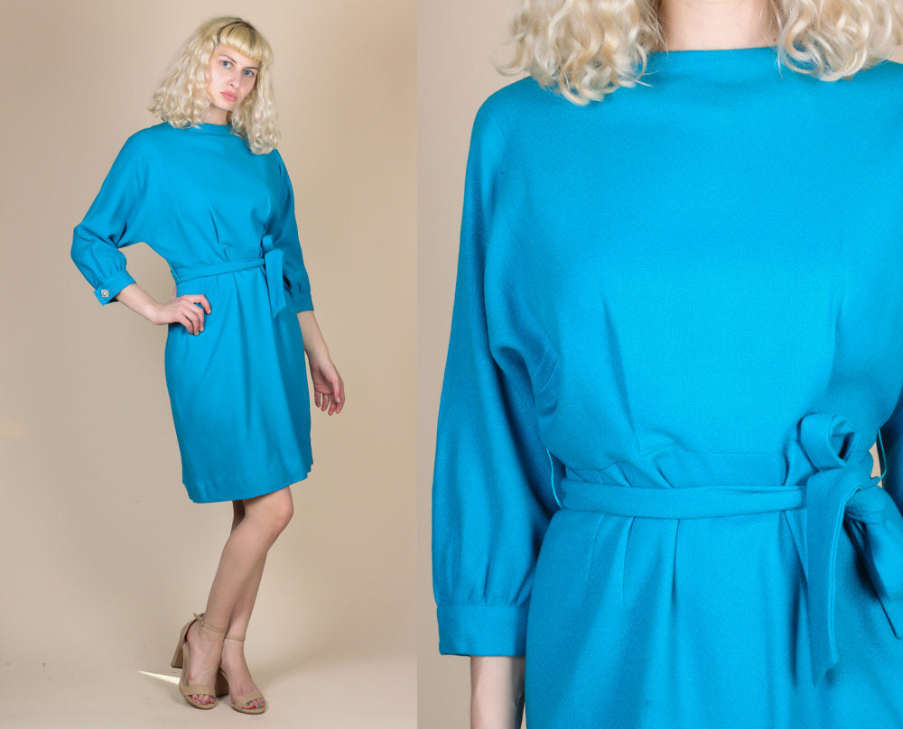 70s Blue Wool Dress - Large