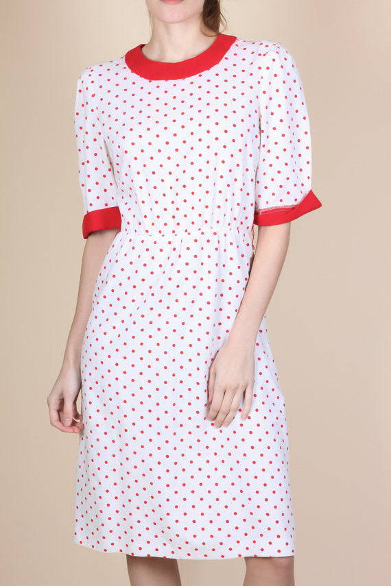 80 Polka Dot Button Back Dress - Small/Medium