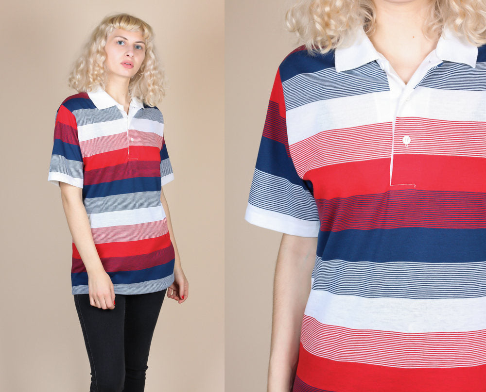 70s Paper Thin Striped Polo - Large