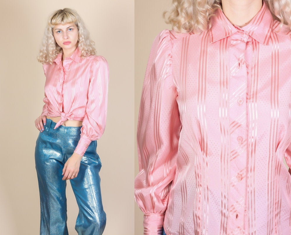 Vintage Pink Striped Blouse - Medium