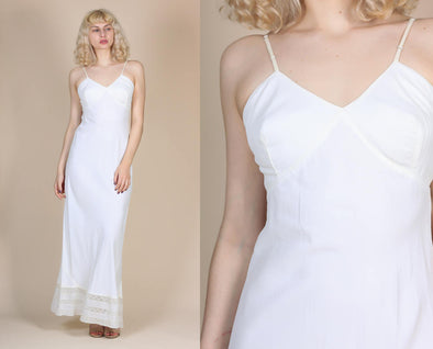 1940s White Maxi Slip - Small