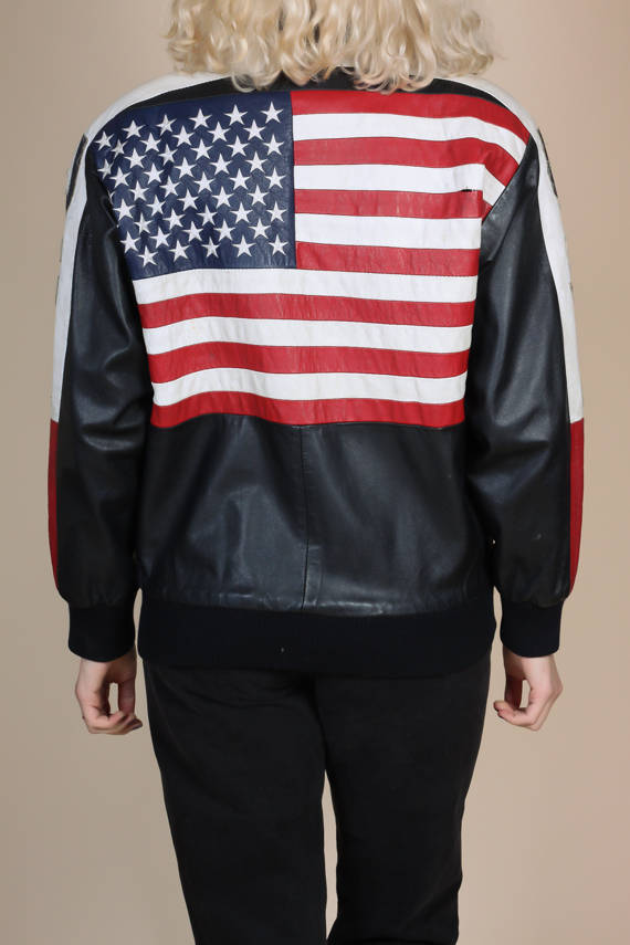 Vintage Distressed USA Leather Jacket - Mens Small