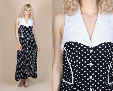 90s Polka Dot Maxi Dress - Large