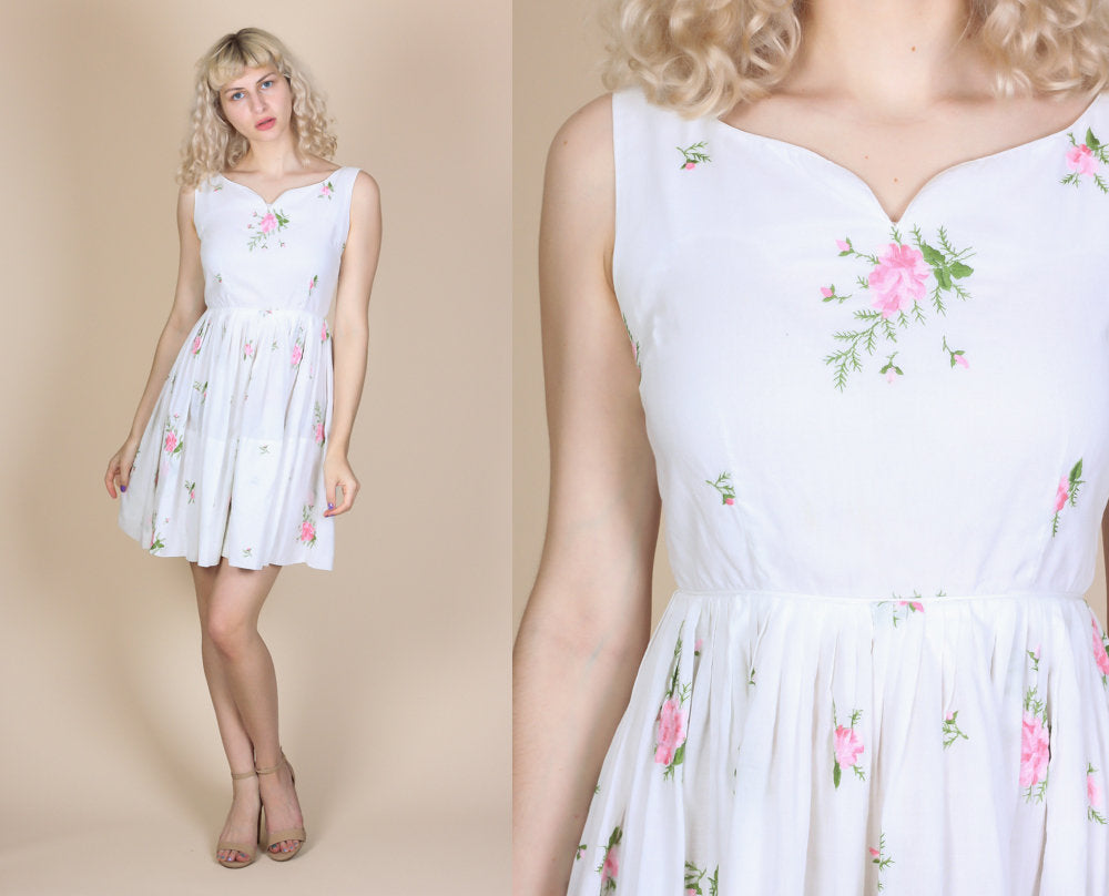 60s White Floral Day Dress - Small