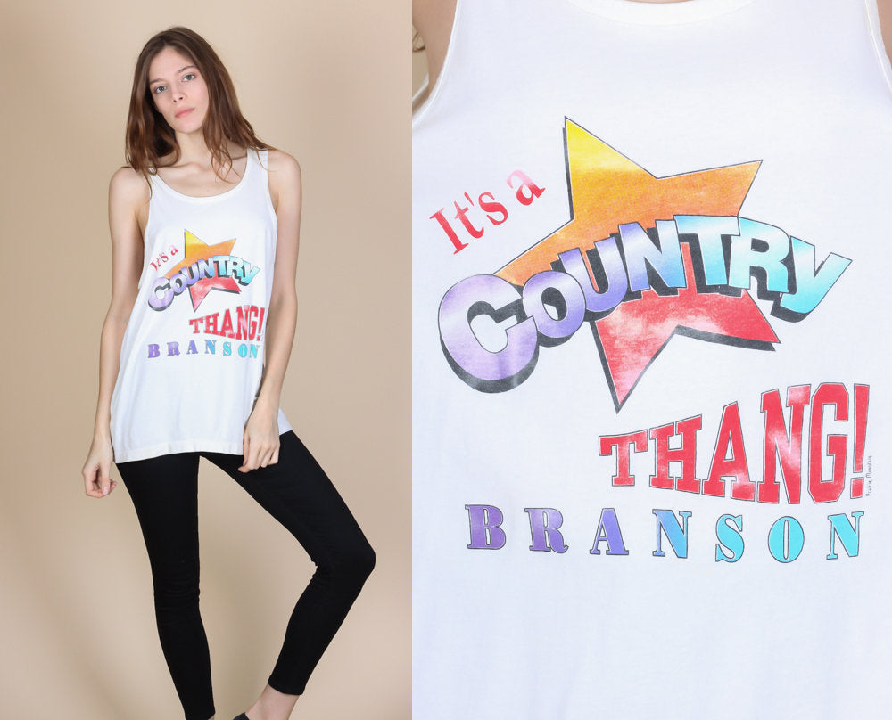 "80s ""It's A Country Thang"" Tank Top - Large"
