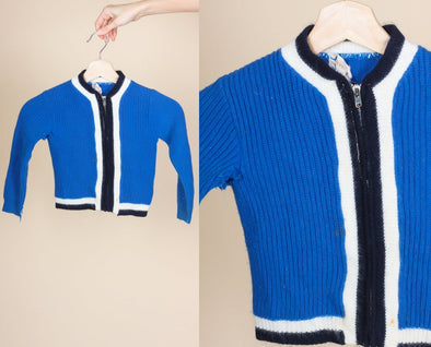 Vintage 60s Toddler Zip Up Sweater - 3-4