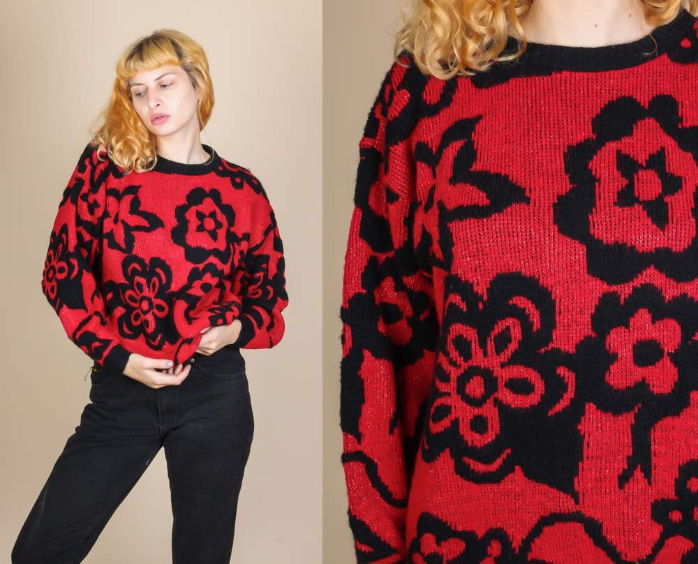 80s Slouchy Floral Sweater - Large