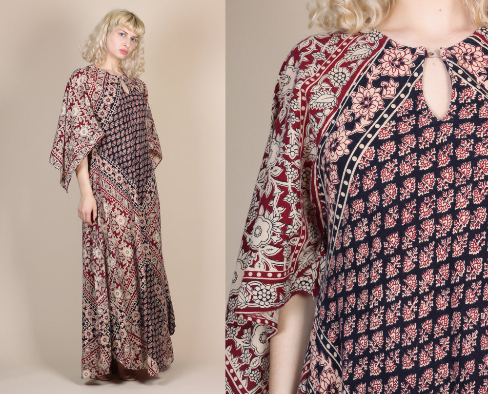 70s Indian Caftan Dress - Medium