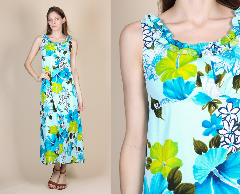 70s Hawaiian Maxi Dress - XS