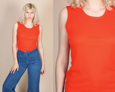 70s Sleeveless Blouse - Medium