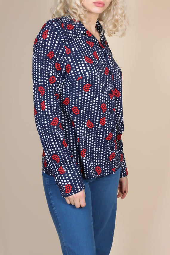 70s Polka Dot Floral Disco Top - XL
