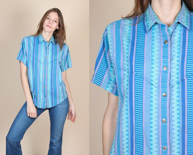 80s Wrangler Striped Western Shirt - Small