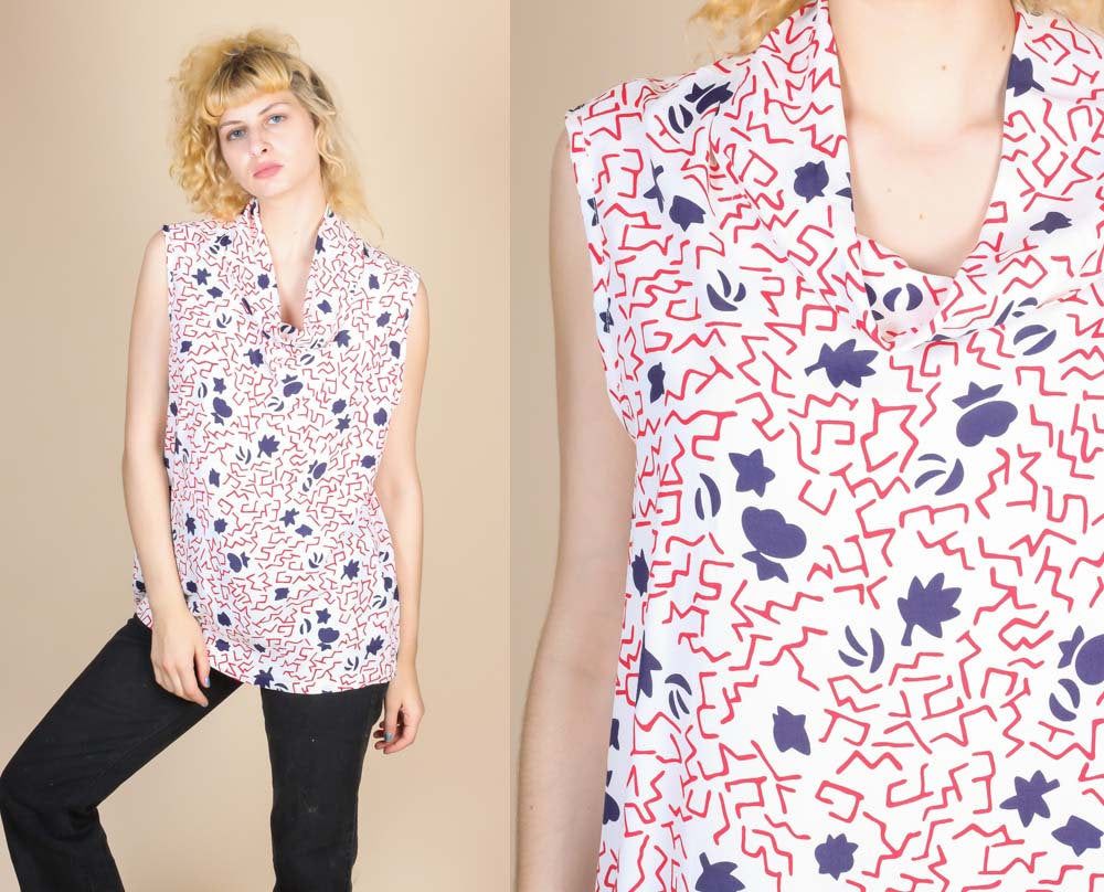 80s Sleeveless Blouse - XXL