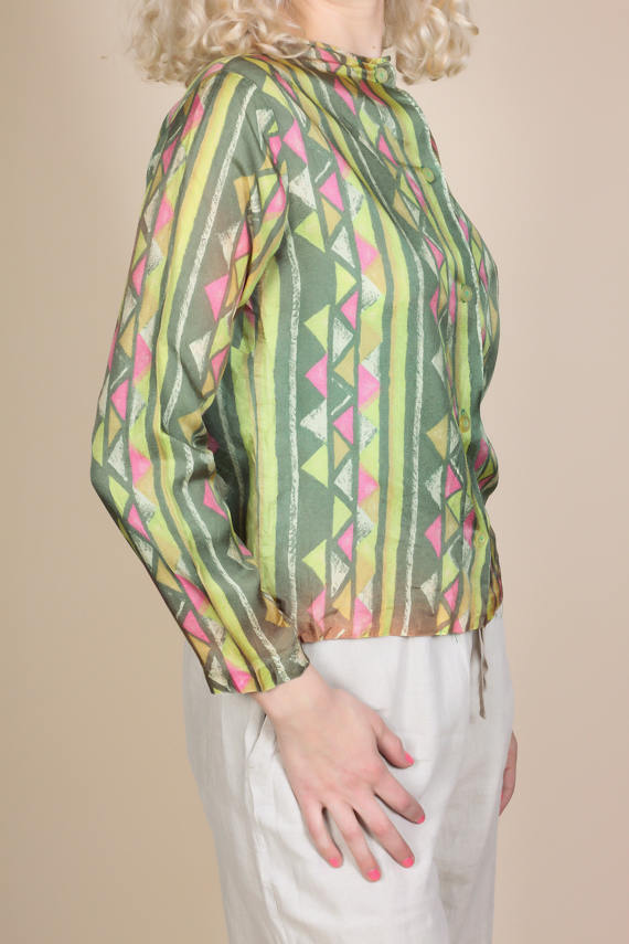 70s Button Up Blouse - Medium
