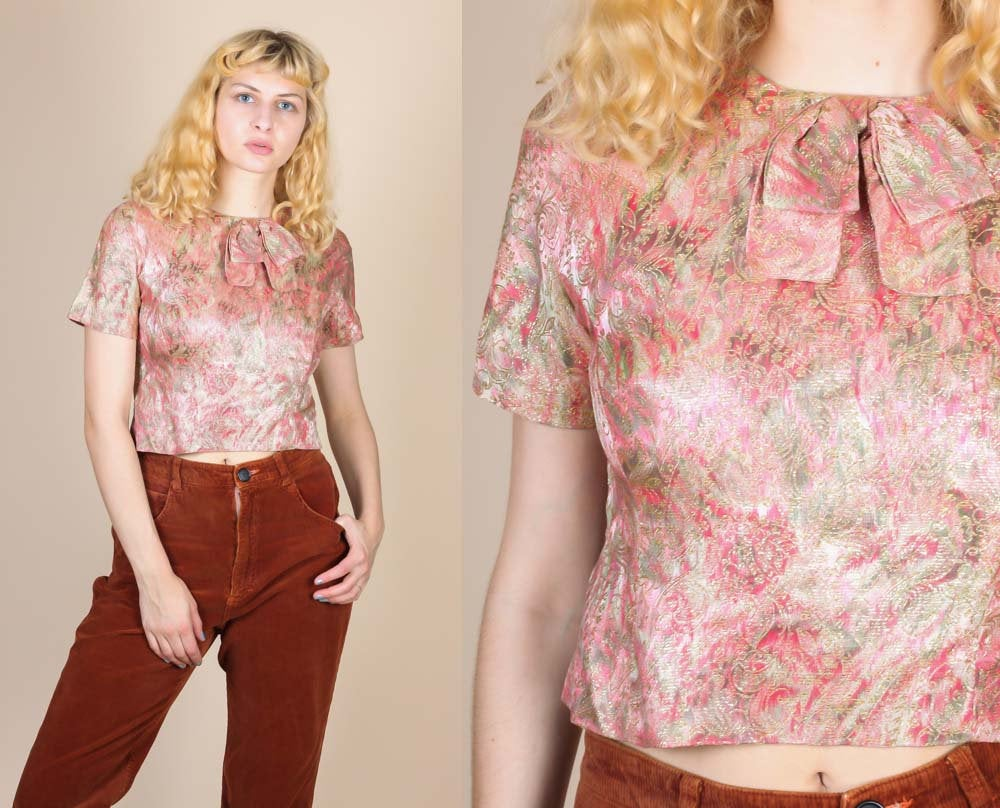 50s Metallic Crop Top - Small