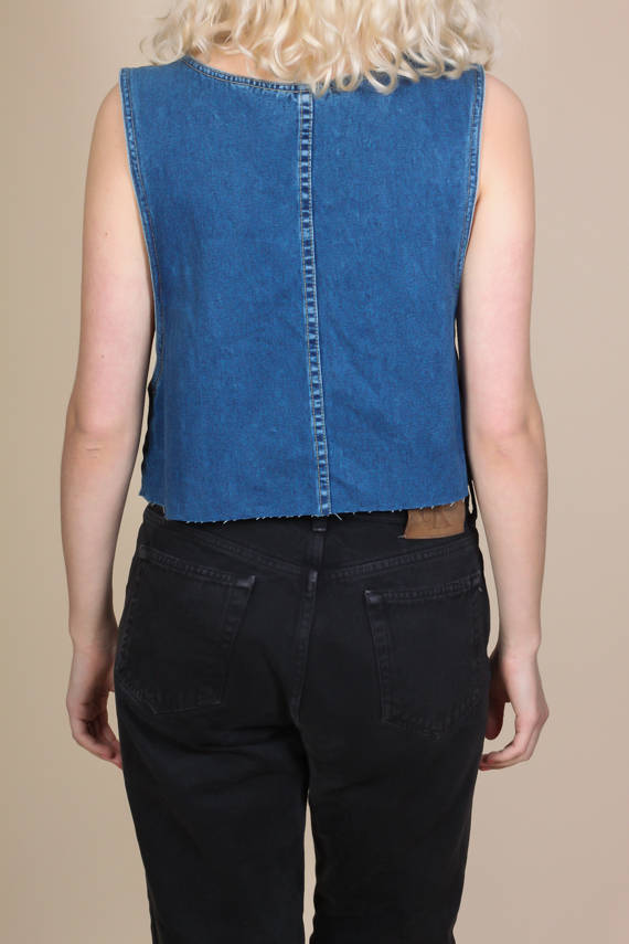 90s Cutoff Denim Tank - Medium