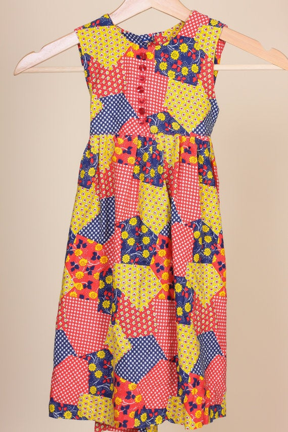 60s Patchwork Pinafore Girls Dress - 2T