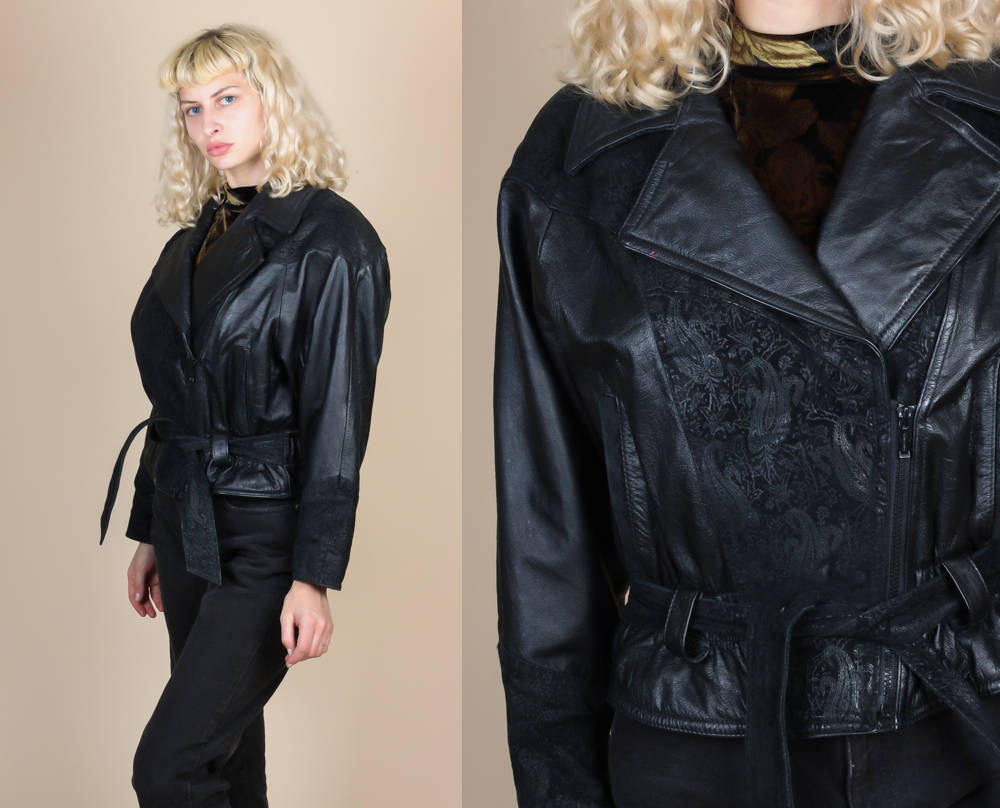 80s Cropped Leather Jacket - Small