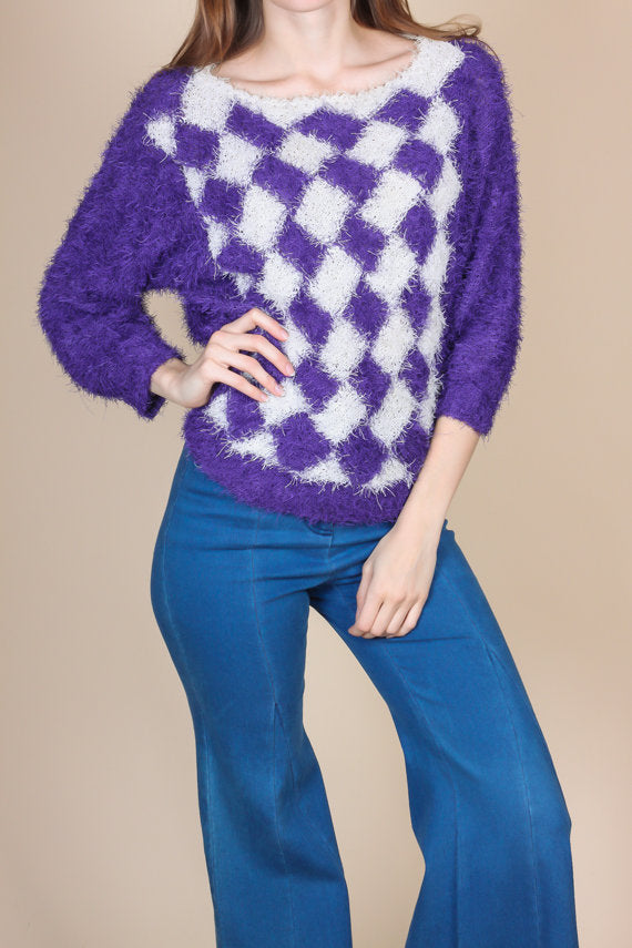 80s Retro Shaggy Knit Sweater - Medium