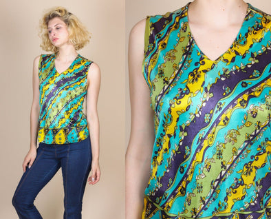 70s Sleeveless Floral Blouse - Medium