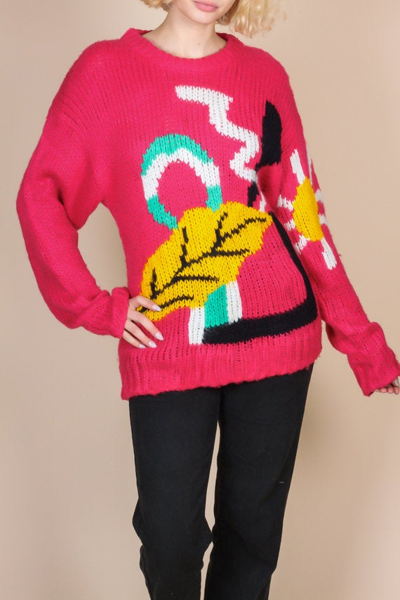 80s Pink Abstract Pullover Sweater - Large