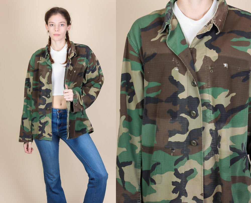 Vintage Camo Army Jacket - Mens Medium Short