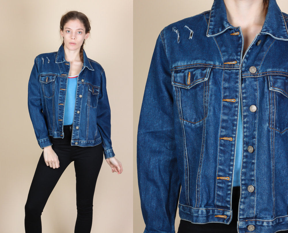 90s Bill Blass Ripped Jean Jacket - Petite Medium