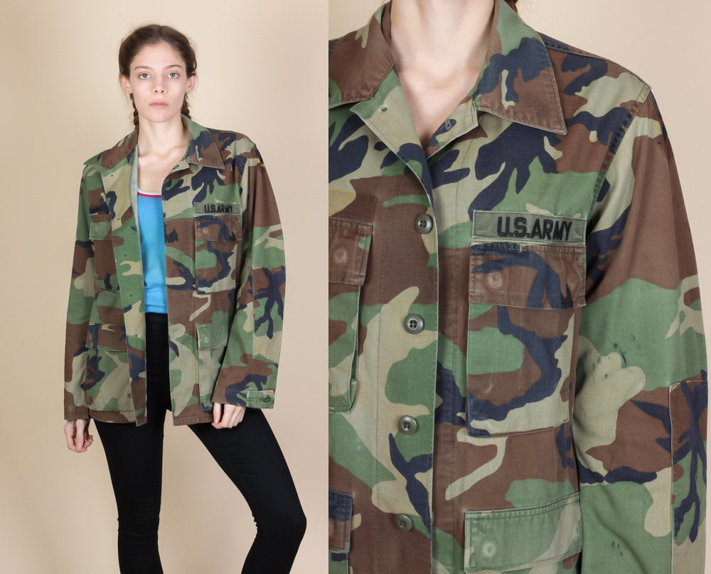 80s Button Up Camo Jacket - Small