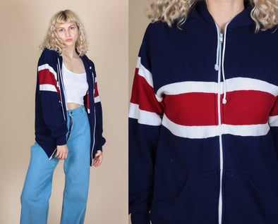 8e9e87092c4220 80s Striped Zip Up Hoodie - Large – Flying Apple Vintage