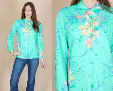 70s Floral Button Up Blouse - Medium