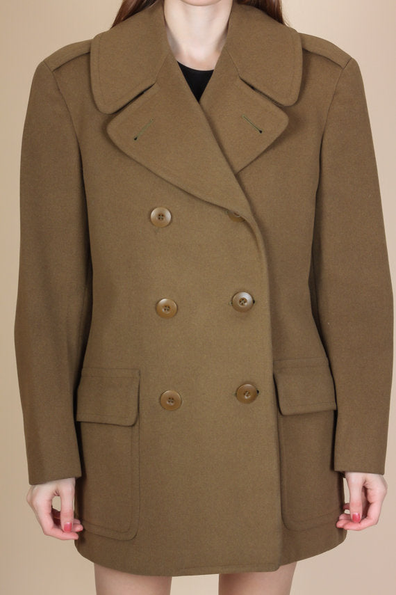 1940s WWII Army Overcoat - Mens Extra Small Long