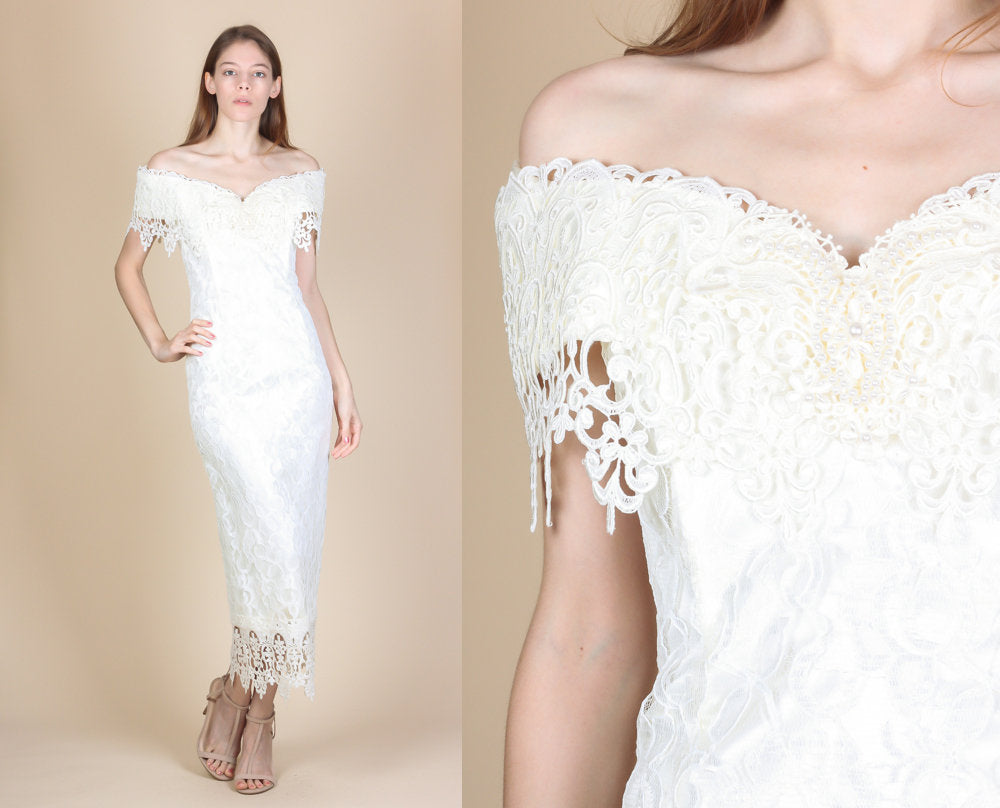 4eea4543f3f Vintage 80s Off Shoulder Jessica McClintock Crochet Lace Wedding Gown -  Extra Small to Small