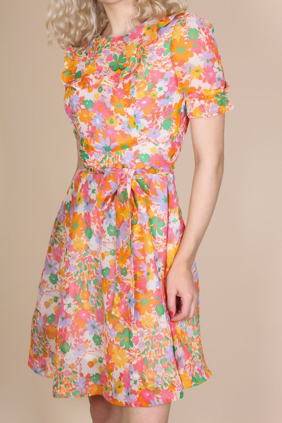 60s Floral Mini Dress - Small