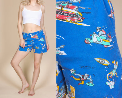 90s Cartoon Travel Shorts - Medium to Large