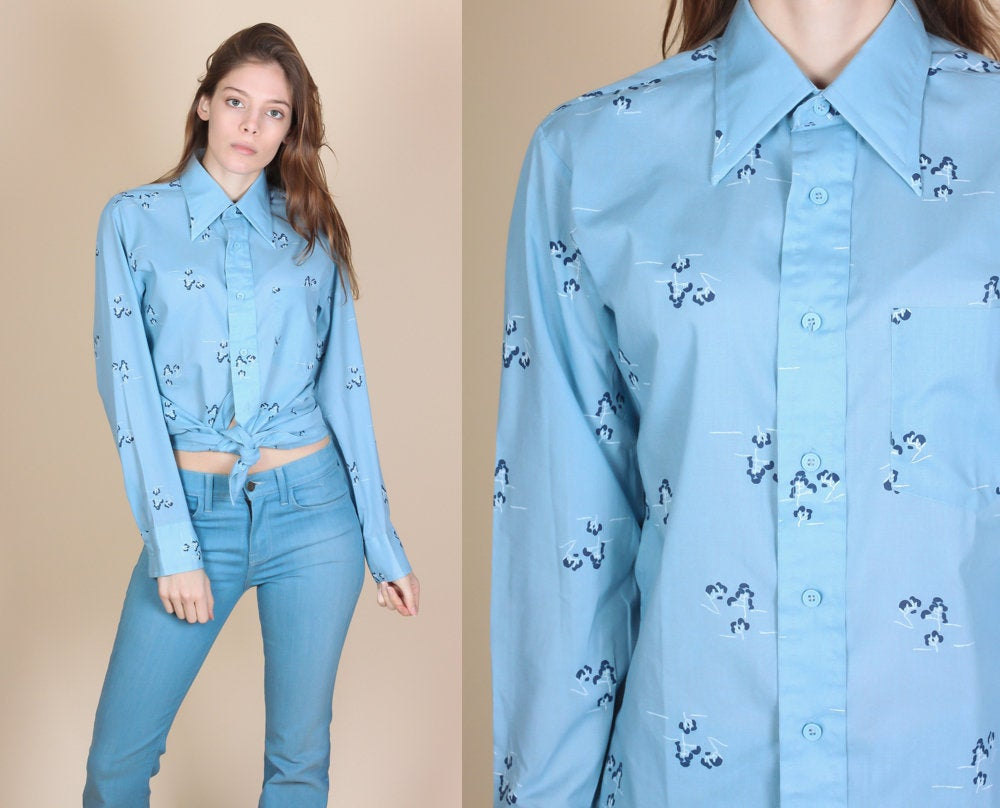 70s Blue Button Up Shirt - Mens Small