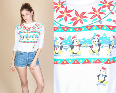 80s Cropped Penguin Sweatshirt - Extra Small