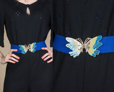 Retro 80s Blue Butterfly Enamel Buckle Belt