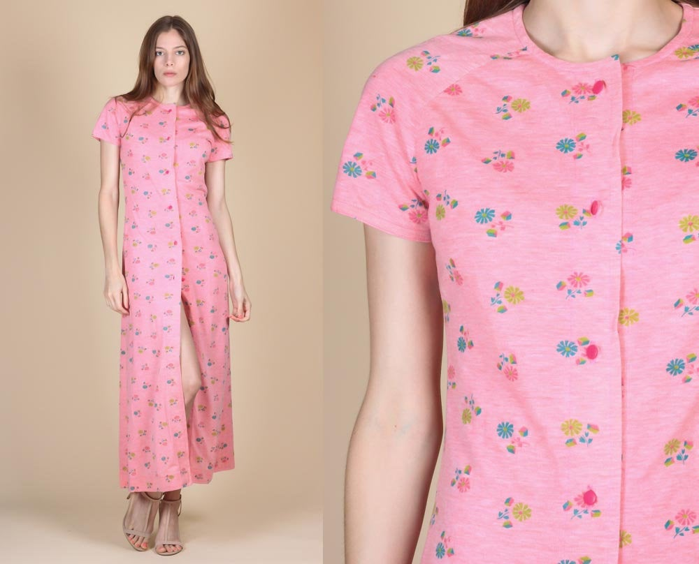 70s Floral Loungewear Dress - Extra Small