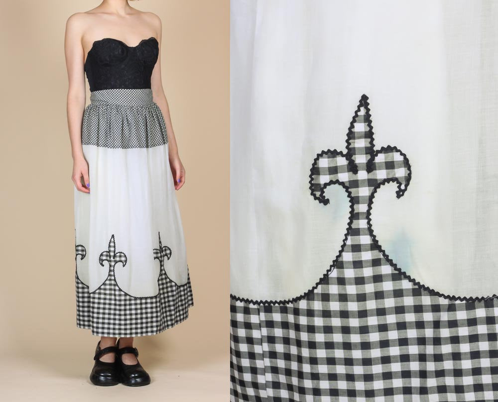 70s Gingham Fleur De Lis Maxi Skirt - XS to Small