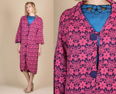 60s Floral Swing Jacket - Large