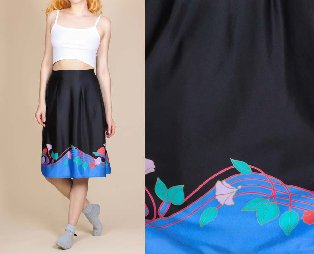 70s Floral Wrap Skirt - Medium