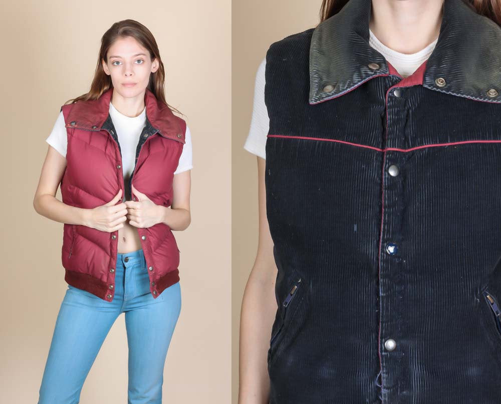 Vintage Corduroy Reversible Puffy Vest - Medium