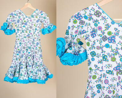 Vintage Girls Ruffle Floral Dress - 4 to 5