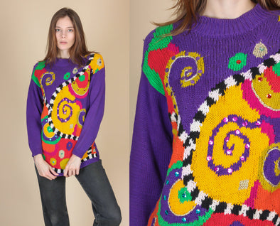 80s Sequined Swirl Knit Sweater - Small