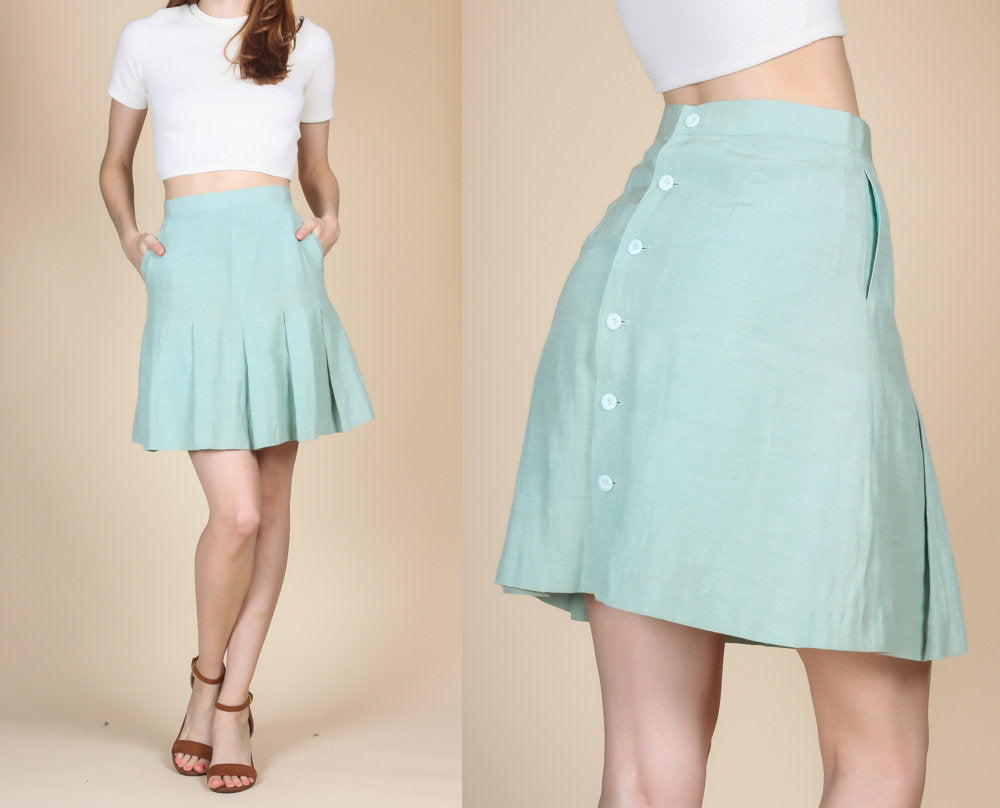 90s Button Back Skater Skirt - Extra Small