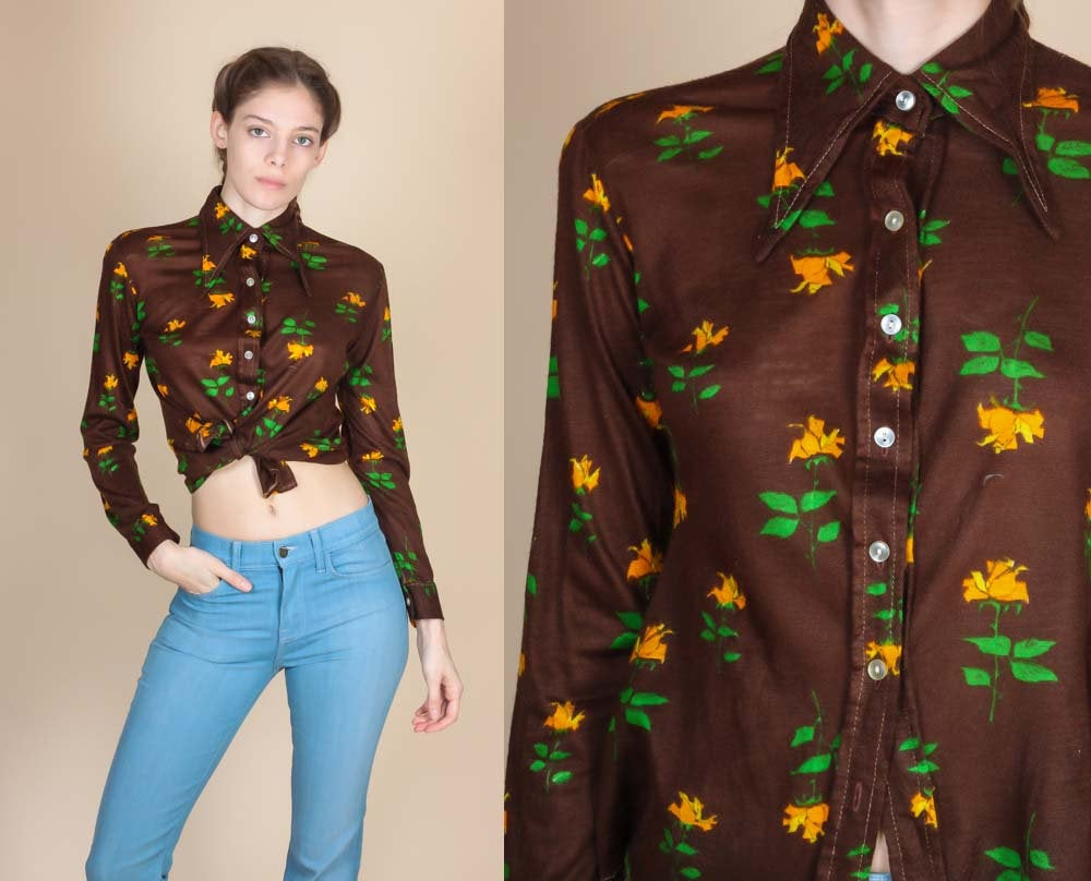 70s Floral Sheer Button Up Top - Small