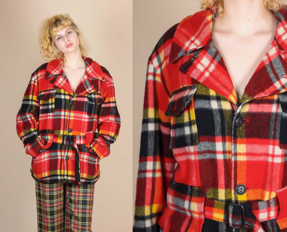 70s Plaid Shearling Belted Coat - Extra Large