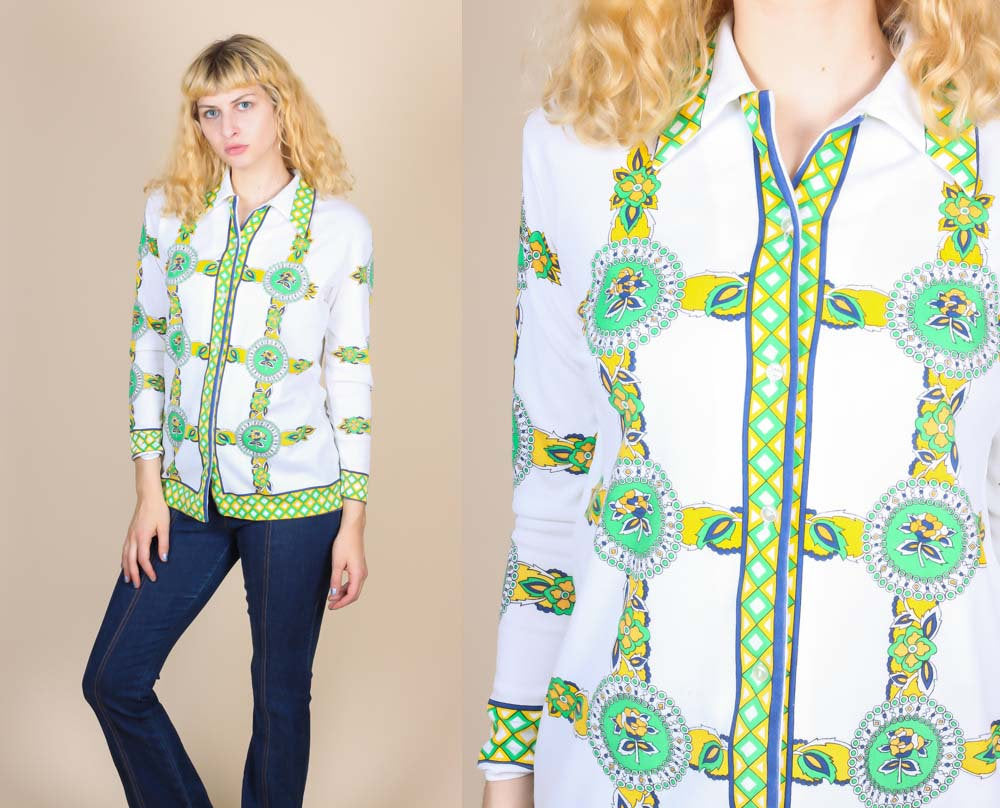 70s Button Up Top -  Large